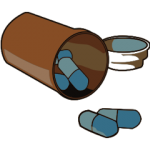 a clipart graphic of prescription pills